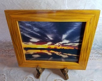 picture frame, sunset, photography, pond,redwood, yellow, orange, red, reclaimed wood, hand crafted