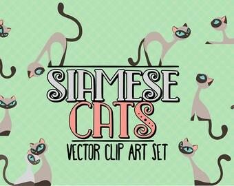 Siamese cats/Elegant cats/Clip art set/Cat illustration/Design elements/Printable illustration
