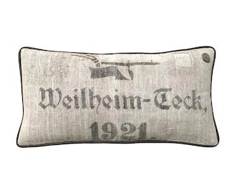 "Antique German Grain Sack Pillow from 1921 -  22"" x 11"""