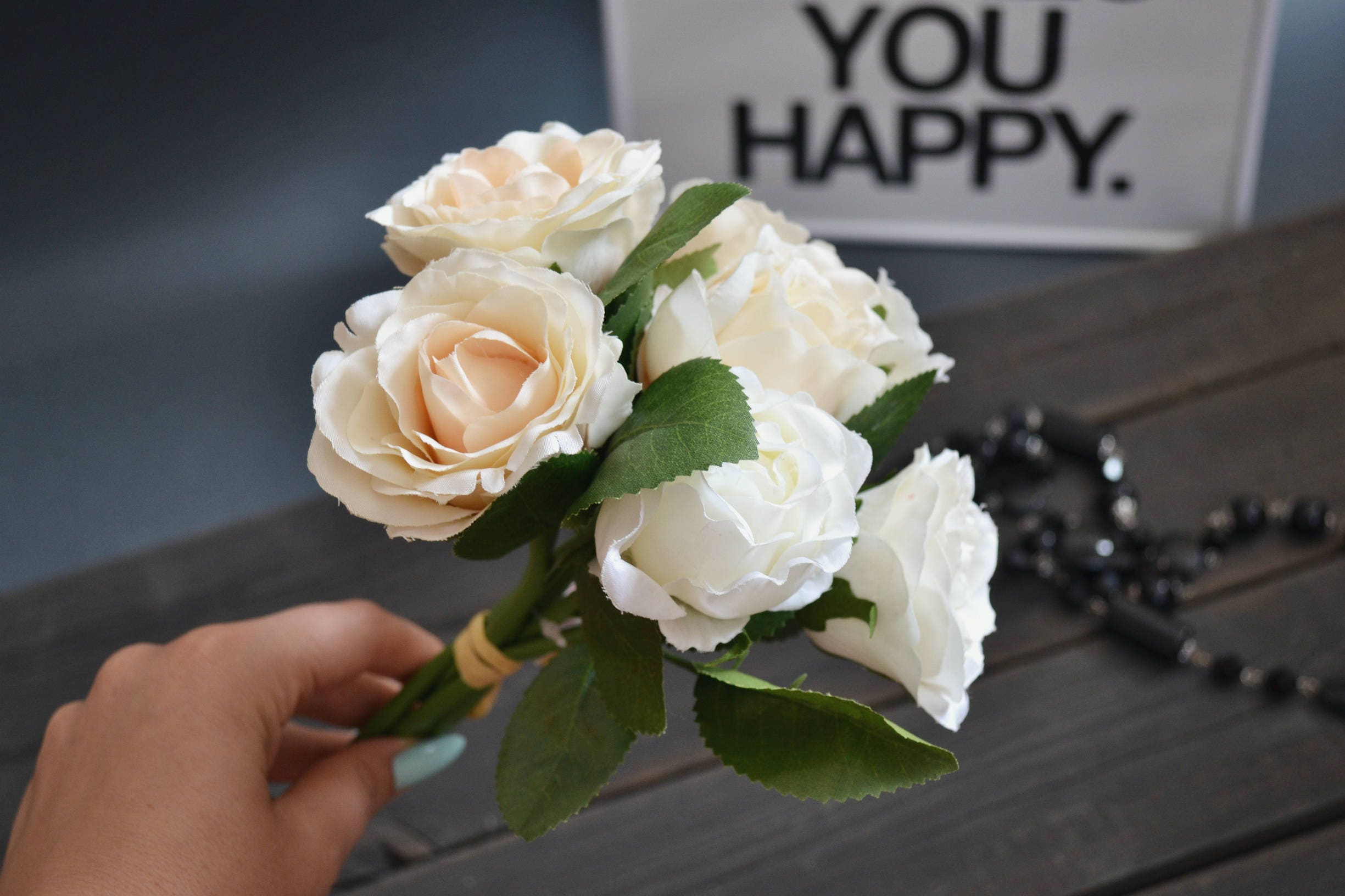 Ivory Rose Rose Bouquet Artificial Rose Fake Flowers Flower Heads