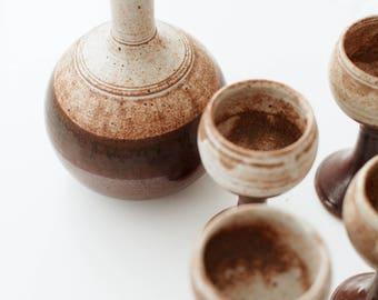 Vintage Ceramic Decanter and Goblet Set