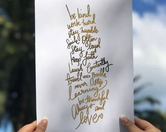Gold Foil Quote Print, Wall Decor