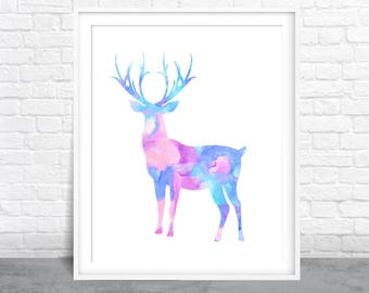 Deer Art, Antlers Art, Watercolor Design, Colorful Deer