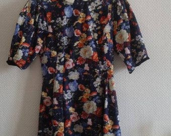 Floral, puffed sleeves dress