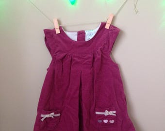 Vtg Child's Pink Corduroy Sleeveless Pinafore Dress - Size 12 Months