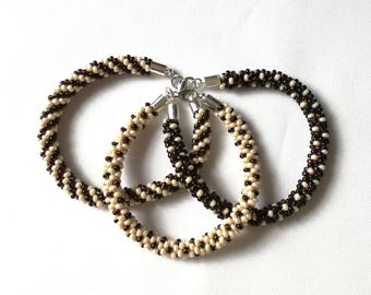Brown and beige handmade beaded bracelates (Kumihimo) - Memet Jewelry