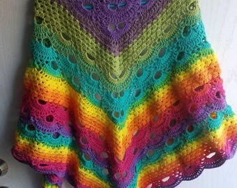 Crochet Hippie Shawl, Rainbow Shawl, Crochet Virus Rainbow Shawl