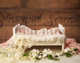 Newborn bed baby girl digital background backdrop