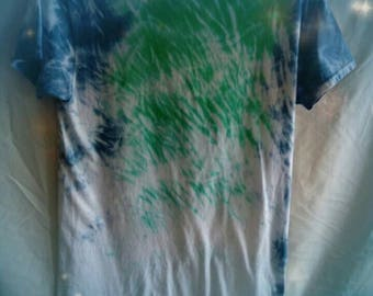 Men's tie dyed T-shirt. Shibori shirt with blue,  green,  and white. Awesome design.