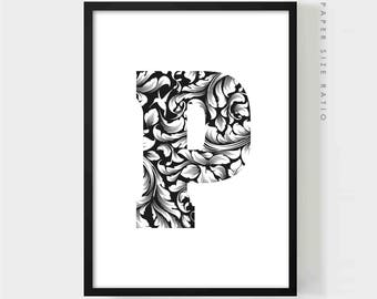 LETTER P PRINTABLE, Floral Letter P Black and White Poster, Initial P Wall Art Print, Modern Typography Prints, Monogram P, Digital Download
