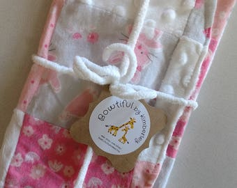 Patchwork Pink and Pink Bunnies, Elephants and Giraffes & Polka Dot Burp Cloths - Set of 2 - Baby Gift - Baby Shower Gift