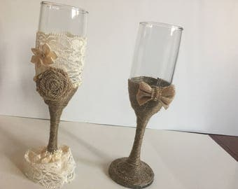 Rustic wedding champagne glasses