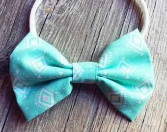 Mint Geo Classic Baby Bow