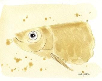 Yellow sardine. Original watercolor