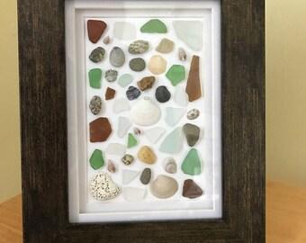 Seaglass & Shell Mosaic Collage, Beach Art, Cottage Decor, Maine Seaglass, 5X7 Frame, Sea glass art, Nautical, Shells, Beach Glass