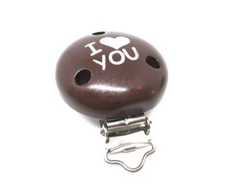 Wooden clip I Love You - chocolate
