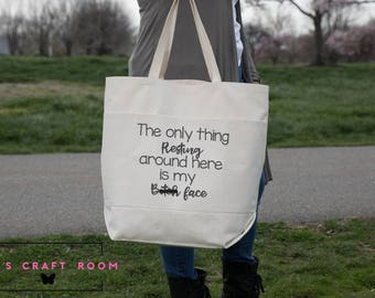 Resting B*+ch Face Canvas Bag [LARGE Canvas Tote Bag with two large front Pockets] RBF #RBF