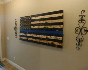 American Flag Rustic Distressed with hand carved stars Patriotic, Rustic American Art, Wood burned