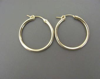 "Big Gold Hoop Earrings, 1.3"" hoops, Cross Hoop Earrings,Swarovski Cross Hoops,  14K Gold Filled Earrings, Thick gold Hoops, Everyday hoops"