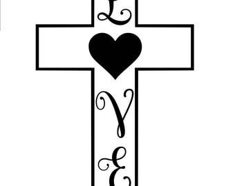 Love Cross SVG