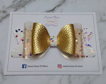 Large Bow Headband or Clip | White & Gold | Glitter Bow | Leather Bow | Baby Headband, Girls Clip