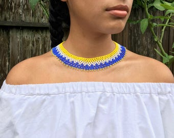 Yellow/White/Purple Beaded Collar Necklace