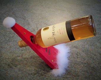Christmas  Hat Balancing Wine Bottle Holder