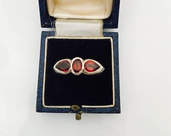 Vintage Silver Ring with Large Red Ruby Coloured Stones.
