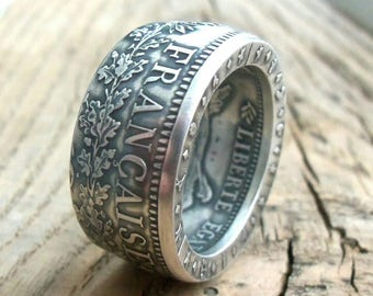 Silver coin ring France - French jewelry - French coin ring - French silver coin ring - France coin ring - French coins -  Handmade Rings