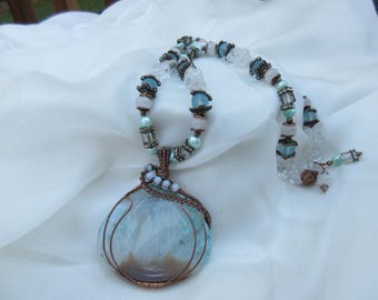 Blue Druzy Geod Quartz with fresh water pearls and agate beads