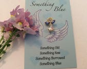 Something Blue Beautiful Bride Angel Pin Wedding Keepsake Crystal Blue wings