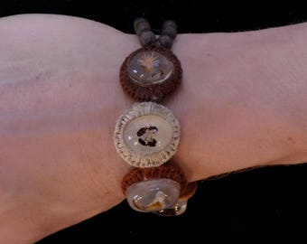 SALE - Insect, fauna and bone bracelet