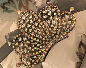 Crown Crystal Sash  Pin Brooch