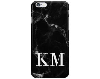 Personalised Name initials Black White Marble Phone Case Cover for Apple iPhone 5 6 6s 7 8 Plus & Samsung Galaxy Customized Monogram