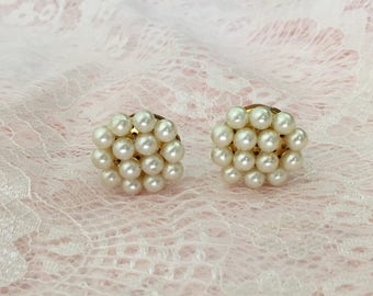 Pearl Earrings, Vintage Pearl Earrings, Clip On Earrings, Cluster Earrings, Pearl And Gold, Bridal Earrings, Bridal Jewelry