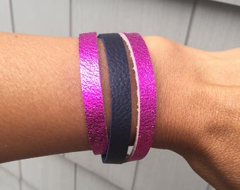 Statement Bracelet for Women, Hot Pink and Navy Wrap Bracelet, Statement Bracelet, Women's Statement Bracelet, Best Friend Bracelet, Boho