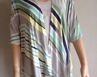 Kimono 38/40/42/44/46/48/50 Jersey de coton imprimé graphique