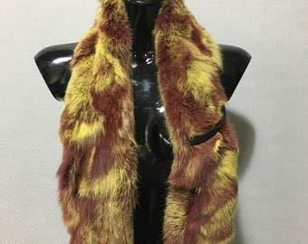 Yellow-bordeaux Rabbit Real Fur Scarf