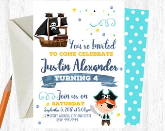 Pirate Birthday Invitation, Pirate Invitation, Pirate Invite, birthday invite, Birthday Party, Pirate Printable Invitation
