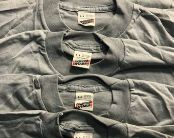 Lot of 5 Vintage Screen Stars youth SHIRT // 50/50 blend paper thin // blank deadstock t-shirt // kids 6-8 Gray grey //