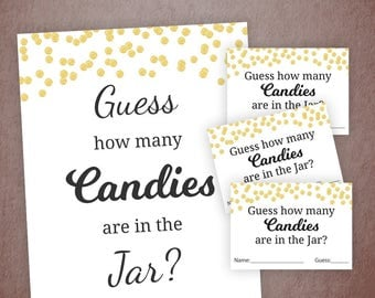 Candy Guessing Game, Baby Shower Games Printable, Gold Confetti, Guess How Many Candies in a Jar, Candies in Bottle, Activities, B001