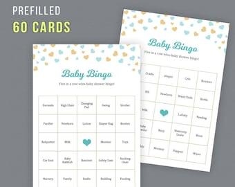 60 Prefilled Baby Shower Bingo Cards, Baby Bingo Cards, Baby Bingo Game, Blue Gold Hearts Confetti, Baby Shower Activities, Digital, B002