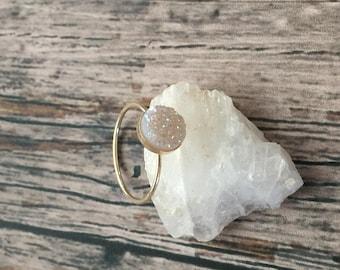 Gold Druzy ring- Circular