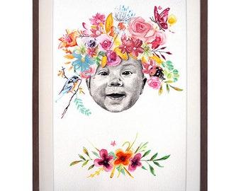 Hand Drawn Portrait Frida Flowers