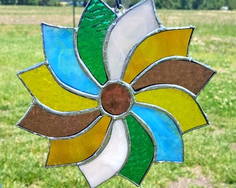 Handcrafted Stained Glass Pinwheel