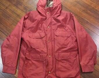 Vintage WOOLRICH Mens 1960s Wool Lined Parka Jacket Hiking Coat Red Size Medium