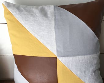 Geometric linen and faux leather pillow cover