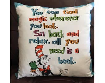 Dr Seuss Read a Good Book Pillow