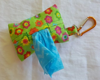 Dog Poop Bag Dispenser - Clip on Style - Lime Green with Multi-Coloured Flowers