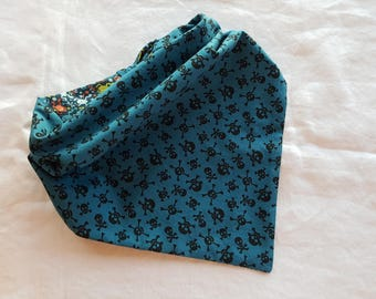 Traditional Tie End Dog Bandana - Reversible Blue with Black Skulls/Blue with Frogs